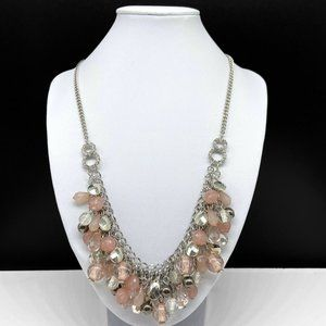 NY & Co Clear Light Pink Silver Beaded Necklace